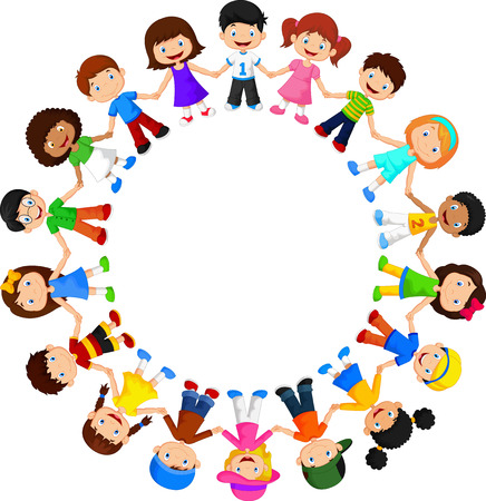 Circle of happy children different races Ilustração