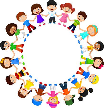 Circle of happy children different races Vettoriali