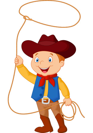 working cowboy: Cowboy kid twirling a lasso