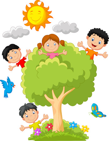Kids playing on tree