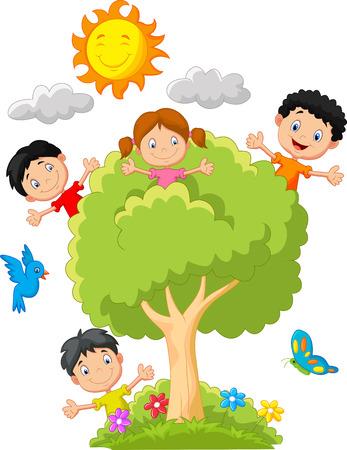 niño trepando: Niños jugando en el árbol Vectores