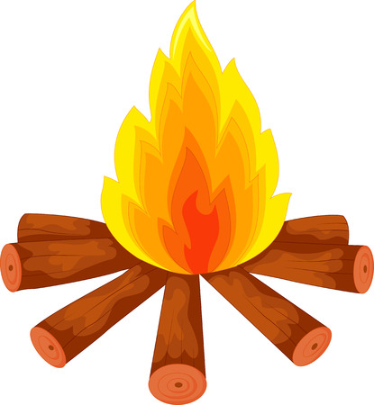 bonfire: Illustration of a campfire on white