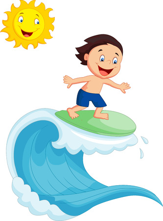 Happy little boy surfing