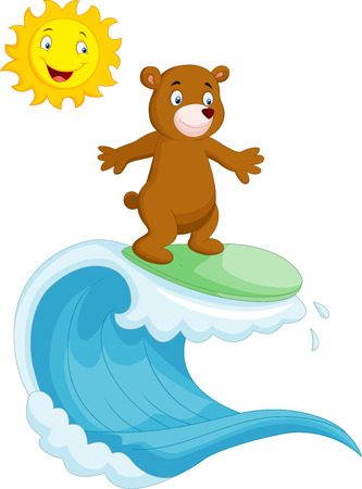 cartoon surfing: Happy brown bear cartoon surfing