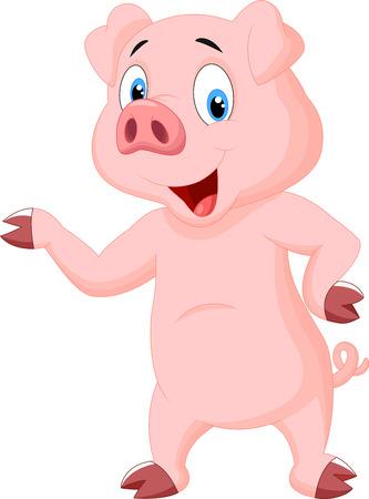 cerdo caricatura: Cute dibujos animados de cerdo Vectores