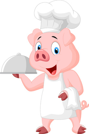 Happy Pig Chef Holding A Platter Vector
