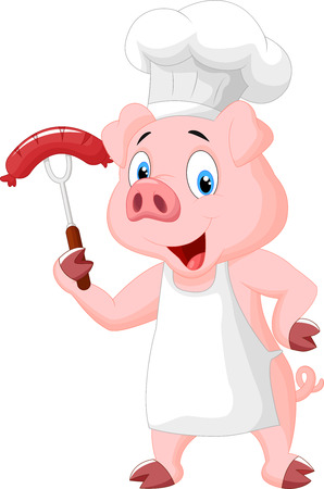 cook hats: Pig Chef Cartoon With Sausage On Fork