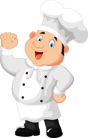 Ilustración de un cocinero gourmet que da una muestra aceptable Vectores