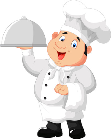 stocky: Chef holding a metal food platter