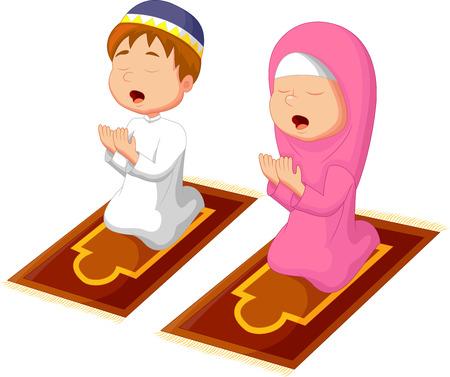 Muslim kid praying Vector