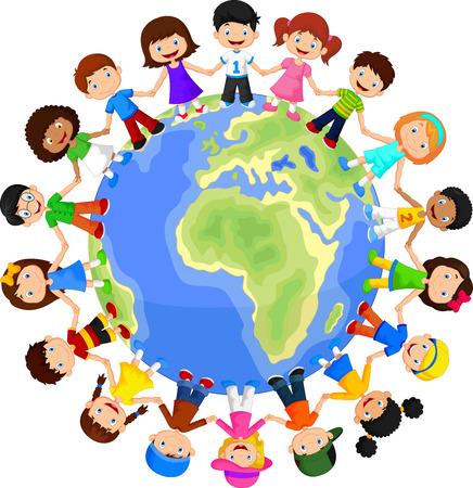 Circle of happy children different races 일러스트