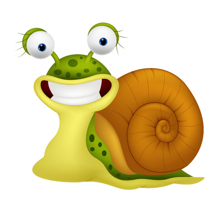 Cute snail cartoon Ilustracja