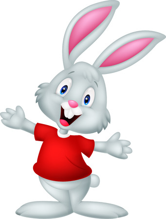 Cute happy baby rabbit cartoon