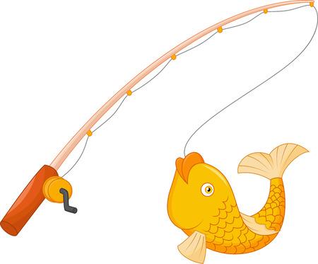 Angel mit Haken und Fisch Vektorgrafik