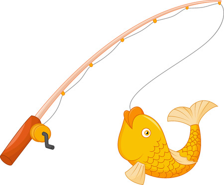 cartoon fishing: Fishing pole with hook and fish