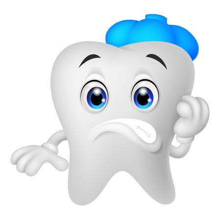 diente caricatura: Dibujos animados diente enfermo
