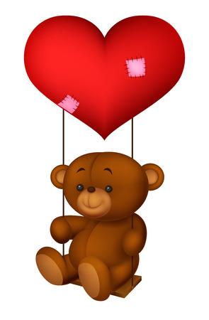 Cute bear swinging on read heart shaped balloon Vector