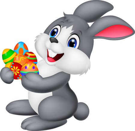 Cartoon bunny holding decorated egg Vector