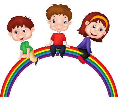 rainbow slide: Cartoon children sitting on rainbow