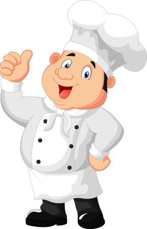 Chef cartoon giving thumb up Stock Illustratie