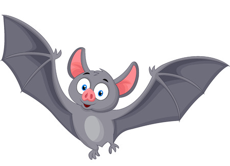 Bat cartoon flying Vector