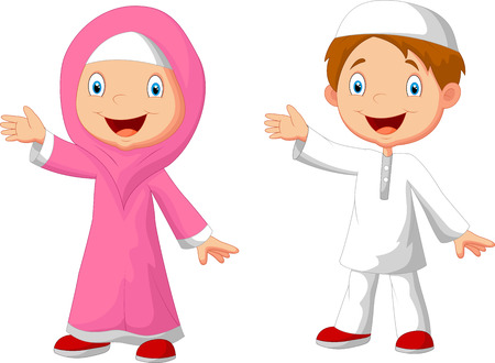 cute cartoon boy: Happy Muslim kid cartoon