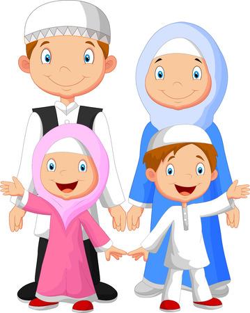 幸せなイスラム教徒の家族漫画  イラスト・ベクター素材