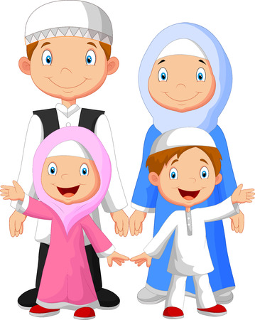 Happy Muslim family cartoon Illustration