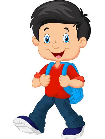 schoolchild: School jongen cartoon wandelen
