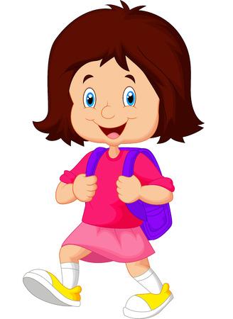go to school: Escuela caminar niña de dibujos animados Vectores