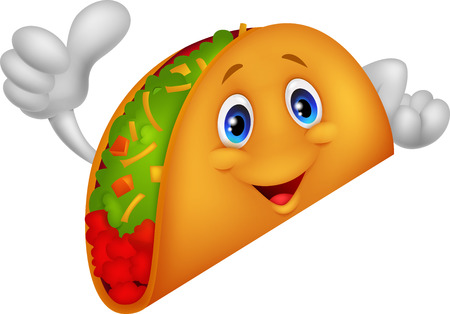 ground beef: Taco cartoon giving thumb up Illustration