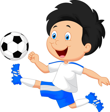 schoolboys: Cartoon boy playing football