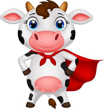vaca caricatura: S�per vaca posando dibujos animados Vectores