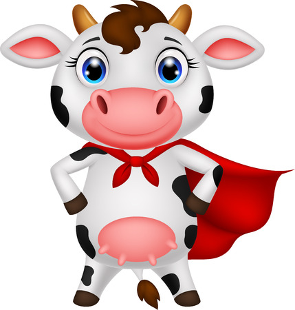 Super cow cartoon posing