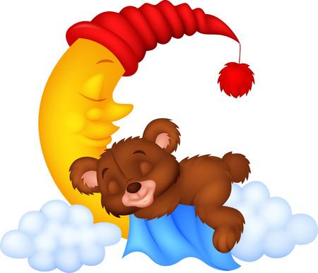 stuff toys: The teddy bear sleep on the moon