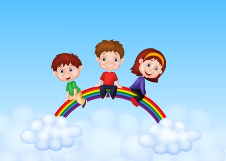 Happy kids sitting on rainbow Vector