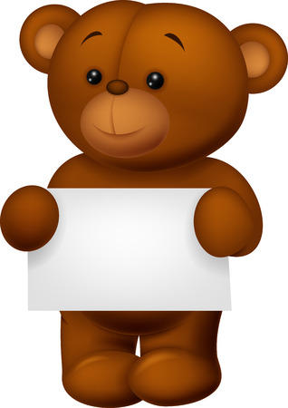 Bear stuff holding blank paper Vector