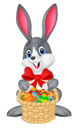 easter basket: Easter bunny with bucket of eggs