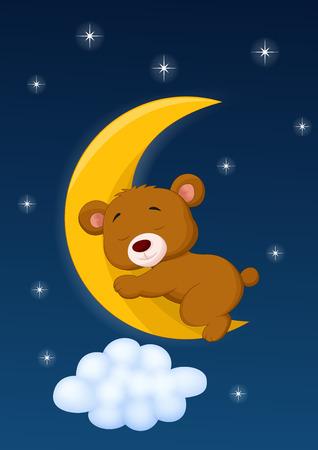 Baby bear sleeping on the moon Vector