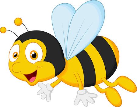 abeja caricatura: Abeja volando de dibujos animados Vectores