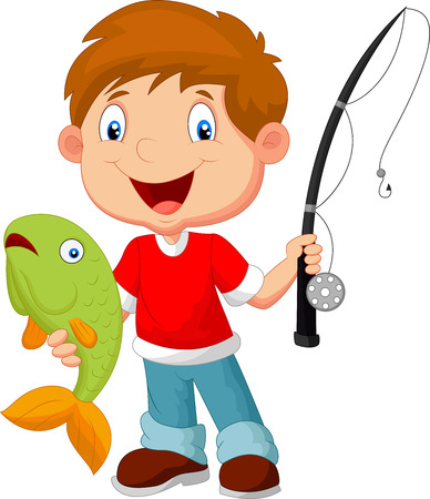 cartoon fishing: Little boy fishing