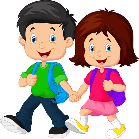 holding hand: Boy and girl with backpacks