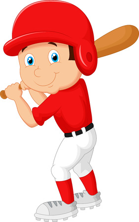 base ball: Cartoon boy playing baseball