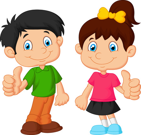 niño y niña: Muchacho y muchacha que da el pulgar para arriba
