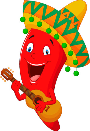 spicy mascot: Red Chili Pepper Cartoon Character With Mexican Hat Playing A Guitar