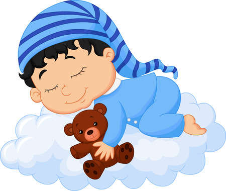 Baby sleeping cloud Vector