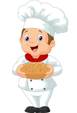 baker: Cartoon chef holding a loaf of bread Illustration
