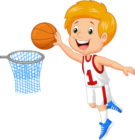 happy kids playing: Kid playing basket Illustration