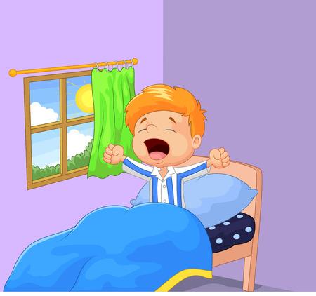 fiúk: Kisfiú felébredt, és ásít