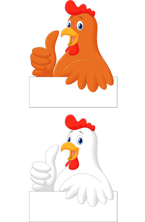 Rooster chef cartoon giving thumb up Vector
